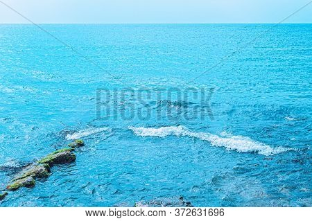 Blue Seascape With Skyline And Blue Sky. Landscape Of Blue Sea And Blue Sky On Sunny Warm Day. Soft