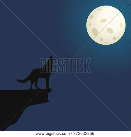Silhouette Of A Wolf On A Mountain Howling At The Moon