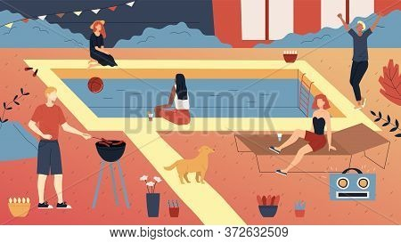 Concept Of Privat Party. Group Of People Or Teens Enjoying Spending Time Together. People Making Bar