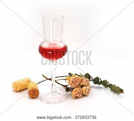 Mild Dry Sweet Rose Pink Wine In A Small Tasting Glasses Isolated On White Background. For Winery, B