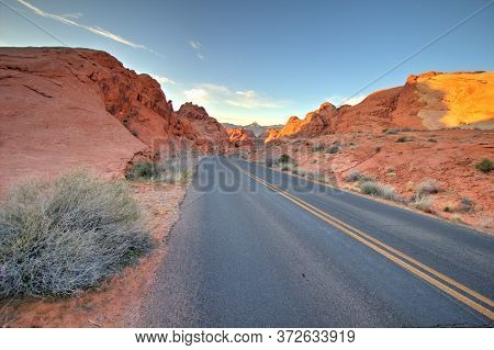 Nevada Highway 169 Is A Nevada State Scenic Byway. The Two Lane Highway Goes Through The Valley Of F