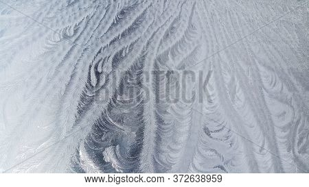 Tracery Of Hoarfrost On Glass. Winter Background.