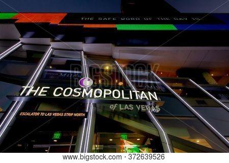 Las Vegas, Nevada, Usa - Illuminated Exterior Of The Cosmopolitan Hotel And Casino On The Las Vegas