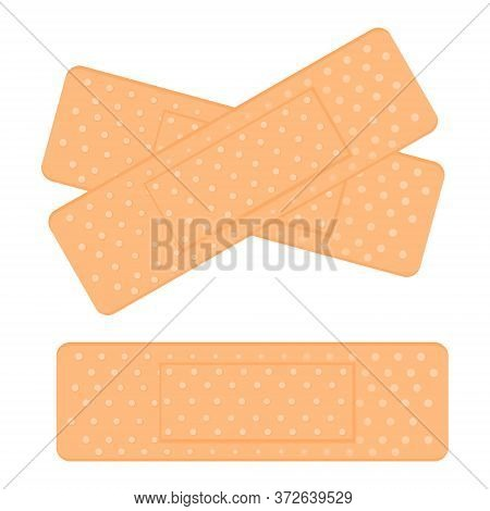 Medical Adhesive Tape Plasters. Vector Illustration Of Medical Tape, Plaster, Protection, Care. Adhe