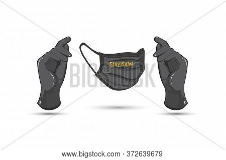 Black Latex Medical Gloves And Surgical Ear-loop Mask On White Background. Virus Protection Concept.