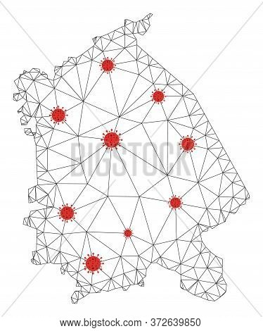 Polygonal Mesh Pavlodar Region Map With Coronavirus Centers. Abstract Mesh Connected Lines And Covid