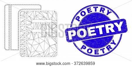 Web Carcass Books Pictogram And Poetry Seal. Blue Vector Rounded Scratched Seal With Poetry Message.