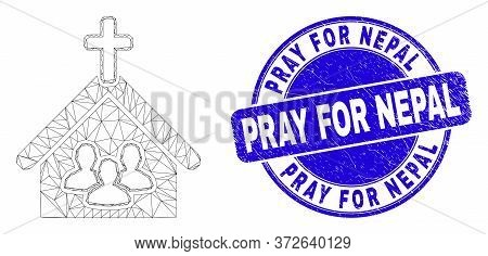 Web Carcass Church People Pictogram And Pray For Nepal Seal Stamp. Blue Vector Round Textured Stamp