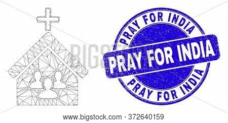 Web Carcass Church People Pictogram And Pray For India Seal Stamp. Blue Vector Round Scratched Seal