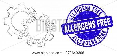 Web Mesh Cogs Icon And Allergens Free Seal. Blue Vector Round Distress Watermark With Allergens Free