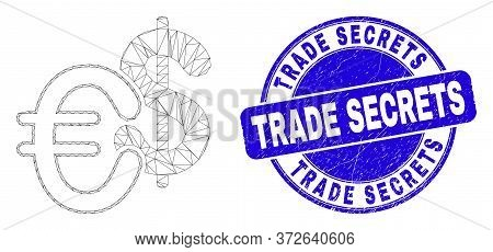 Web Mesh Currency Icon And Trade Secrets Stamp. Blue Vector Round Textured Seal Stamp With Trade Sec