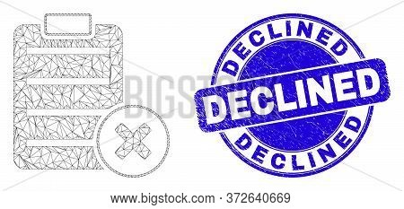 Web Mesh Delete Report Page Pictogram And Declined Watermark. Blue Vector Round Scratched Watermark