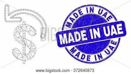 Web Carcass Dollar Refund Icon And Made In Uae Stamp. Blue Vector Round Grunge Seal Stamp With Made