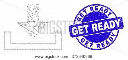 Web Carcass Download Pictogram And Get Ready Seal. Blue Vector Rounded Textured Seal Stamp With Get