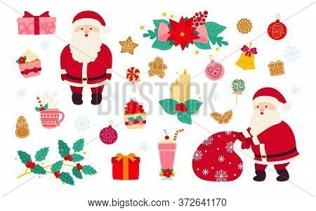 Christmas And New Year Set. Holly, Cupcake, Bell, Hat, Santa And Cookies Gift, Lollipop Candle, Mist