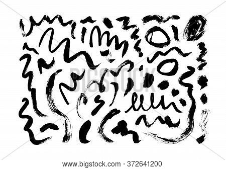 Dry Brushstrokes Hand Drawn Vector Set. Curved And Zig Zag Black Paint Brushstrokes. Grunge Smears C