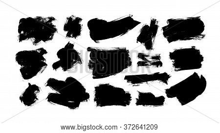 Vector Black Paint, Ink Brush Strokes And Shapes. Dirty Grunge Design Element, Box Or Background For