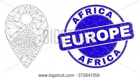 Web Mesh Euro Map Marker Pictogram And Africa Europe Seal. Blue Vector Rounded Distress Seal Stamp W