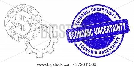 Web Mesh Financial Options Gear Icon And Economic Uncertainty Seal Stamp. Blue Vector Rounded Grunge