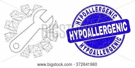 Web Mesh Gear Tools Pictogram And Hypoallergenic Stamp. Blue Vector Rounded Distress Stamp With Hypo