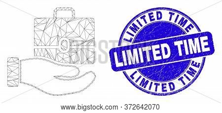 Web Mesh Hand Offer Case Pictogram And Limited Time Stamp. Blue Vector Rounded Grunge Seal Stamp Wit