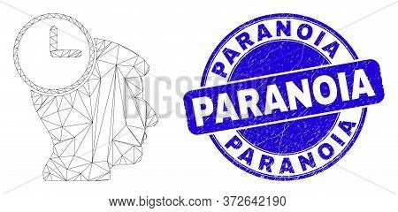 Web Carcass Head Clock Pictogram And Paranoia Seal Stamp. Blue Vector Round Grunge Seal Stamp With P