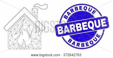 Web Mesh Kitchen Building Pictogram And Barbeque Stamp. Blue Vector Rounded Grunge Stamp With Barbeq