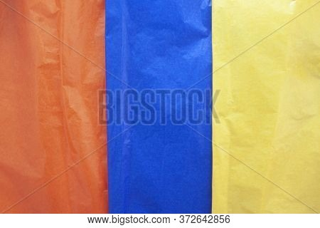 Textured Of Multi Colored Cellophane Paper Placed Sort Vertically For Wrap Candy Or Food For Backgro