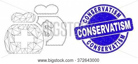 Web Mesh Medical Funds Icon And Conservatism Stamp. Blue Vector Round Grunge Stamp With Conservatism