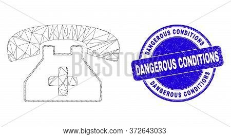 Web Mesh Medical Phone Pictogram And Dangerous Conditions Stamp. Blue Vector Round Scratched Seal St