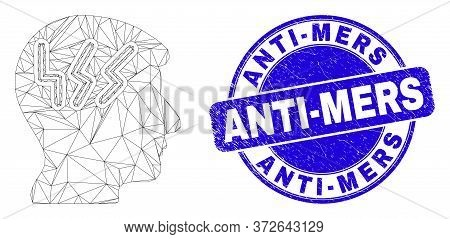 Web Mesh Migraine Head Icon And Anti-mers Seal Stamp. Blue Vector Rounded Grunge Seal Stamp With Ant