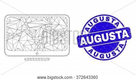 Web Mesh Online Dotted Chart Icon And Augusta Seal. Blue Vector Rounded Scratched Seal With Augusta