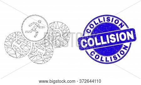Web Carcass Running Persons Icon And Collision Watermark. Blue Vector Rounded Distress Seal With Col