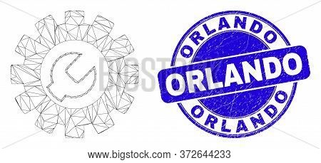 Web Carcass Setup Tools Pictogram And Orlando Seal Stamp. Blue Vector Rounded Textured Seal Stamp Wi