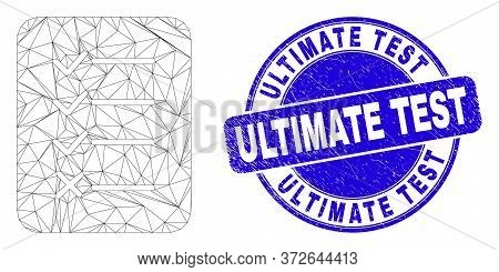 Web Mesh Task List Page Icon And Ultimate Test Seal. Blue Vector Round Grunge Seal Stamp With Ultima