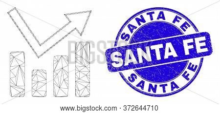 Web Carcass Trend Chart Pictogram And Santa Fe Stamp. Blue Vector Rounded Distress Seal Stamp With S