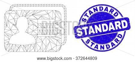 Web Carcass User Cards Icon And Standard Seal. Blue Vector Round Textured Watermark With Standard Ca