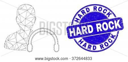 Web Mesh User Headphones Pictogram And Hard Rock Stamp. Blue Vector Rounded Distress Seal Stamp With