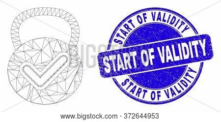Web Mesh Valid Weight Pictogram And Start Of Validity Stamp. Blue Vector Rounded Textured Seal Stamp