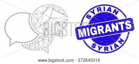 Web Carcass Webinar Messages Icon And Syrian Migrants Stamp. Blue Vector Round Distress Stamp With S