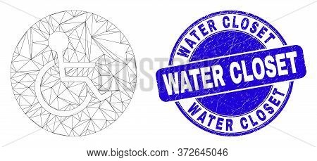 Web Mesh Wheelchair Person Pictogram And Water Closet Seal. Blue Vector Round Distress Watermark Wit