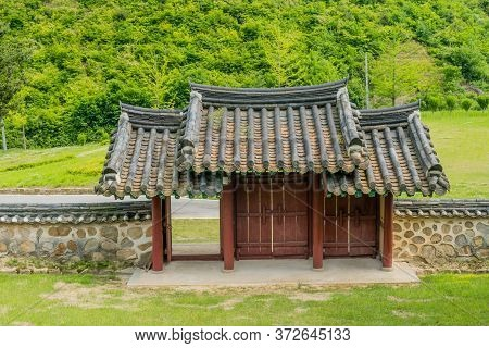 Cheongju, South Korea; May 31, 2020: Rear View Of Entrance Gate To Shrine Honoring Independence Acti
