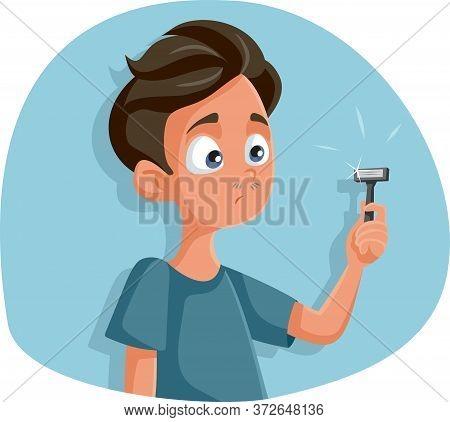 Teen Boy Holding Razor For First Shave Vector Cartoon