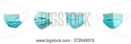 Medical Face Mask Isolated On White Background With Clipping Path