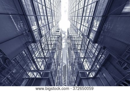 Exterior Of High Rise Office Building. Architecture Abstract Background