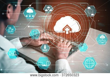 Cloud Computing Technology And Online Data Storage For Business Network Concept.