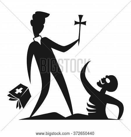 Silhouette Character Contour Flat Minimal Cartoon Humor Satire  Stickman Illustration A Priest With