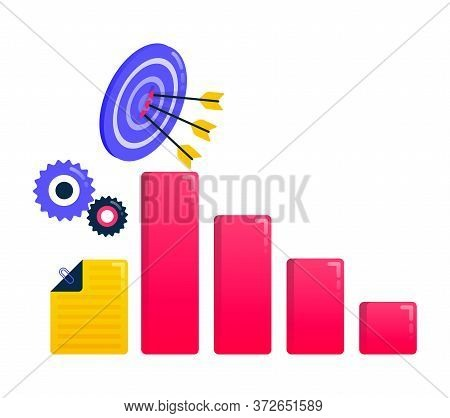 Logos For Achieve Goals, Business Targets, Arrows And Darts, Business Motivation, Business Charts. L