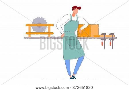 Carpenter Workshop Owner. Isolated Vector Professional Carpenter Worker Man In Apron Working At Work