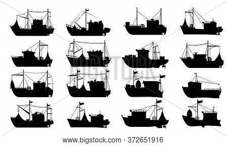 Fishing Boat Silhouette Set. Flat Vector Isolated Fishing Boat Ship Transport Icon Collection. Sea T